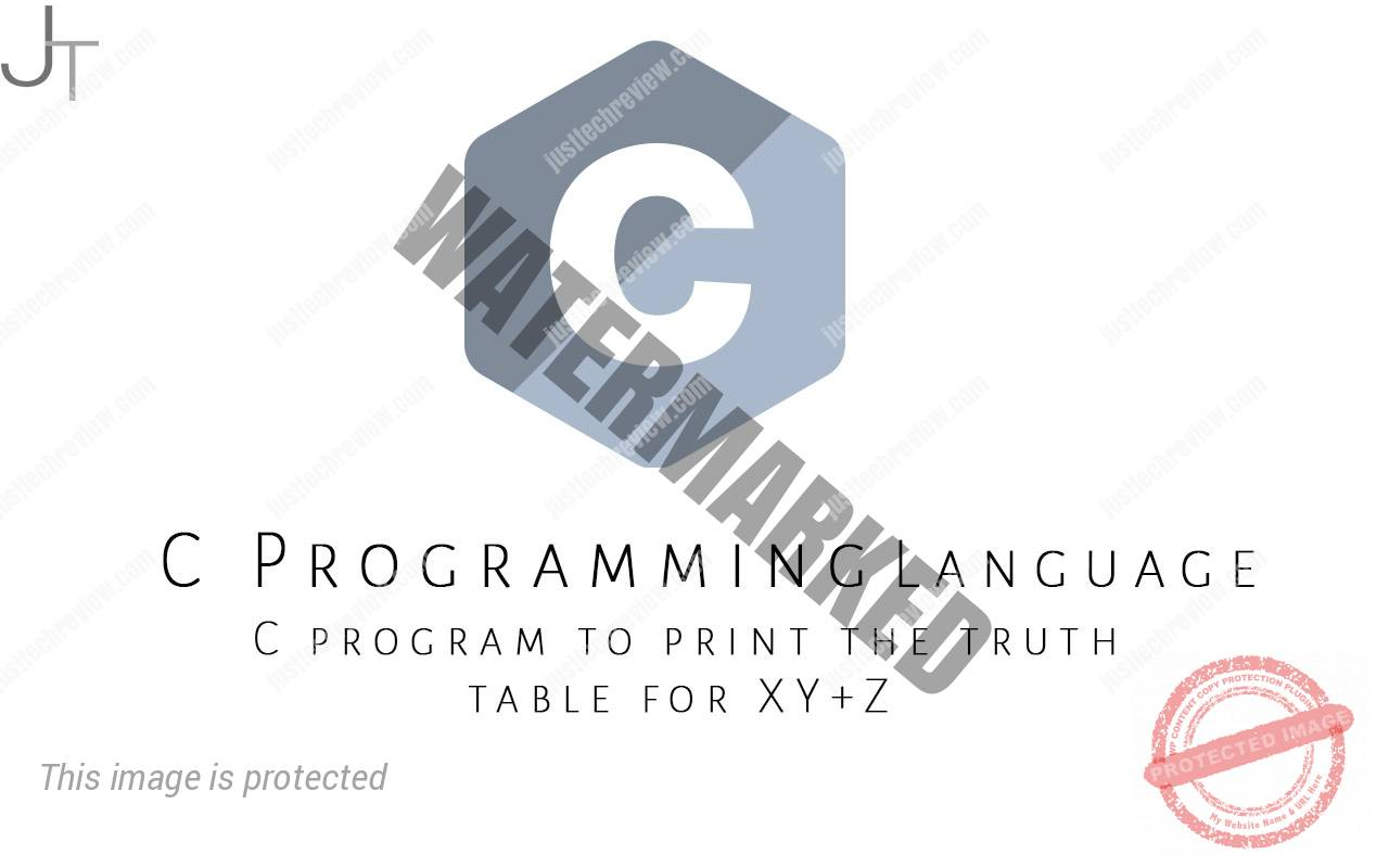 C program to print the truth table for XY+Z