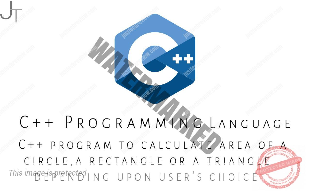 C++ program to calculate area of a circle,a rectangle or a triangle depending upon user's choice