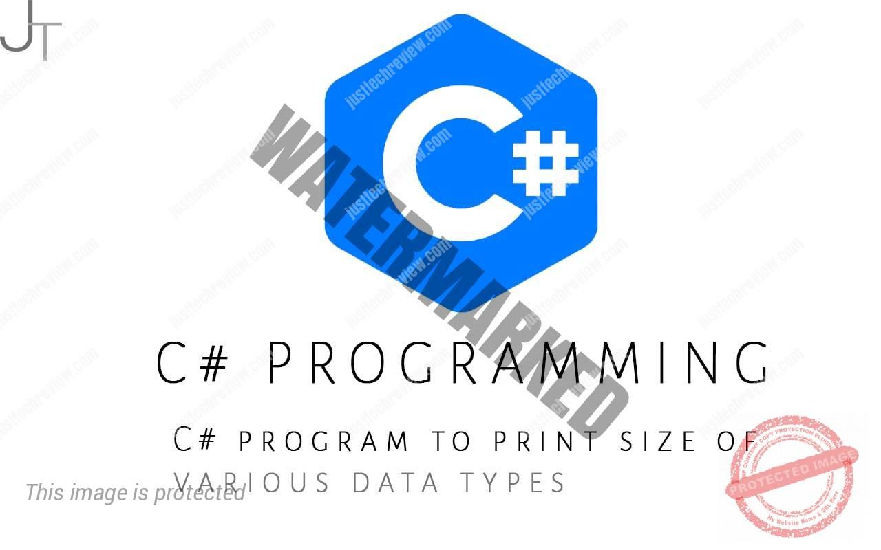 C# program to print size of various data types