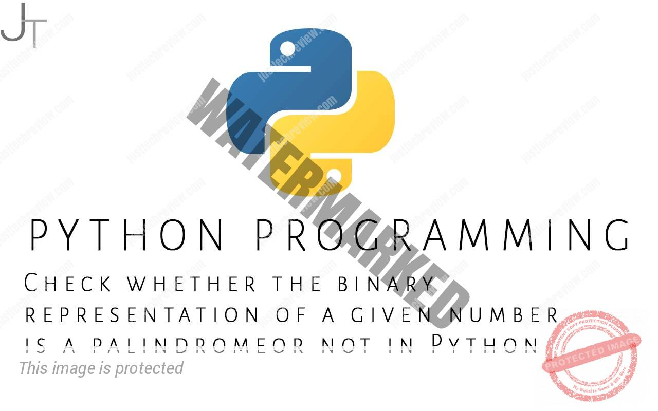 Check whether the binary representation of a given number is a palindrome or not in Python