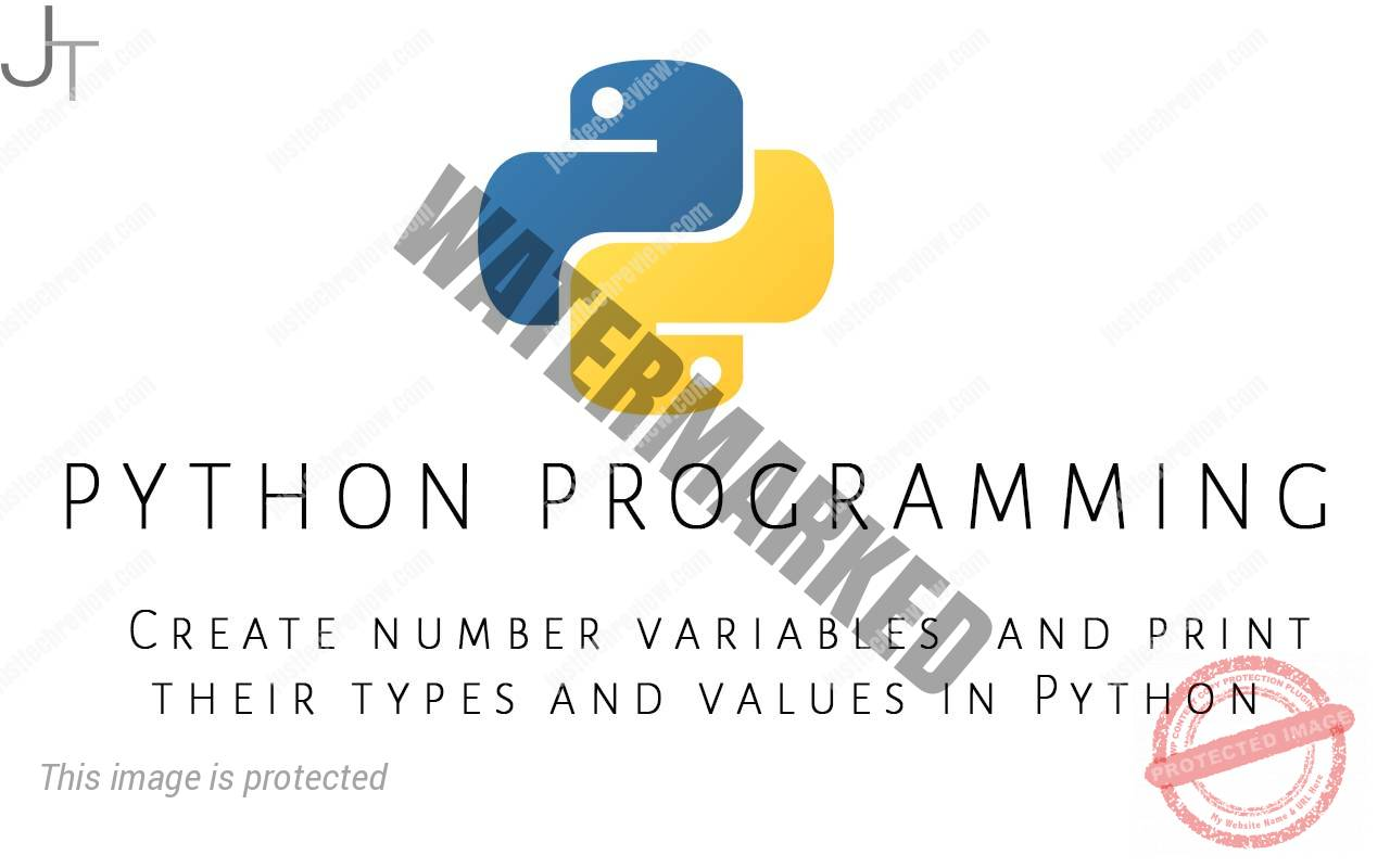 Create number variables and print their types and values in Python