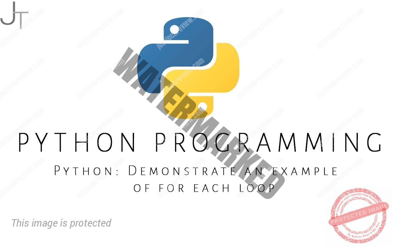 Python Demonstrate an example of for each loop