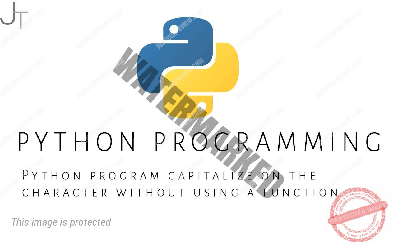 Python program capitalizes on the character without using a function