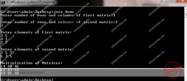 Java Program for Multiplication of two Matrices