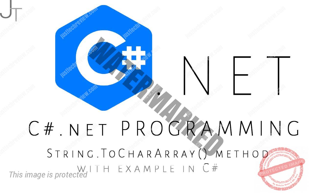 String.ToCharArray() method with example in C#