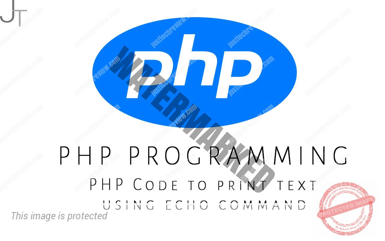 PHP Code to print text using echo command