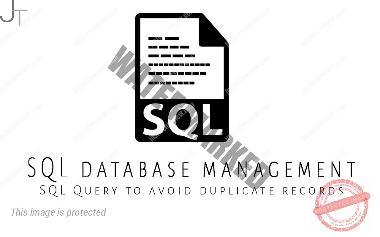 SQL Query to avoid duplicate records