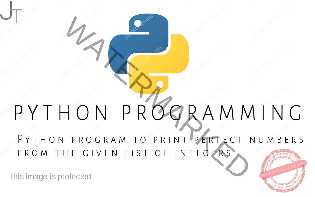 Python program to print perfect numbers from the given list of integers